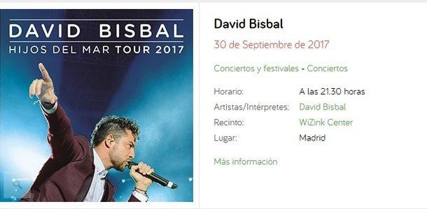 Concierto David Bisbal  Wizink Center Madrid 30/09/17