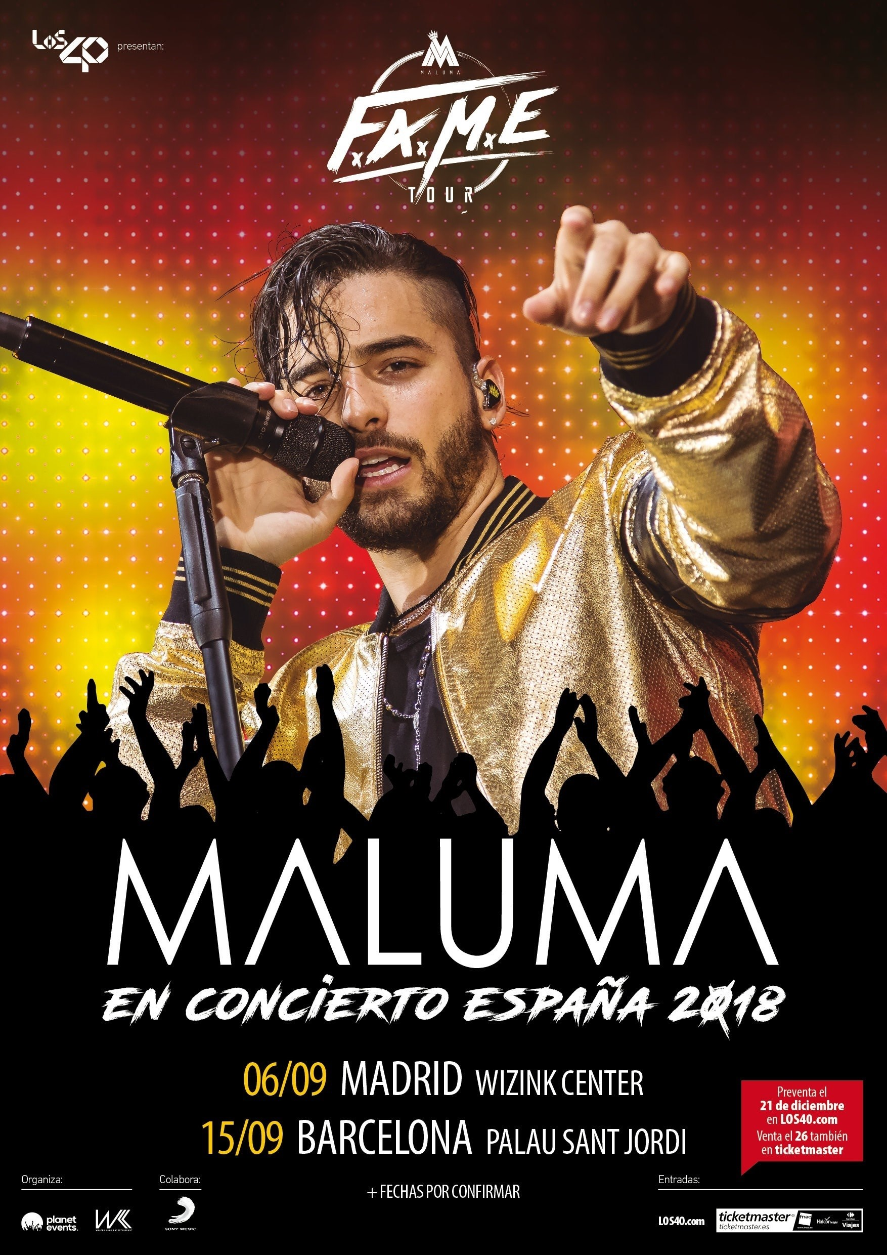 Concierto Maluma Wizink Center Madrid 06/09/18