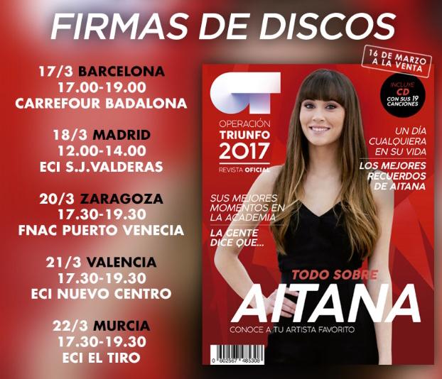 AITANA anuncia el lanzamiento y firmas de discos por España de 'Aitana Operación Triunfo 2017: Sus Canciones