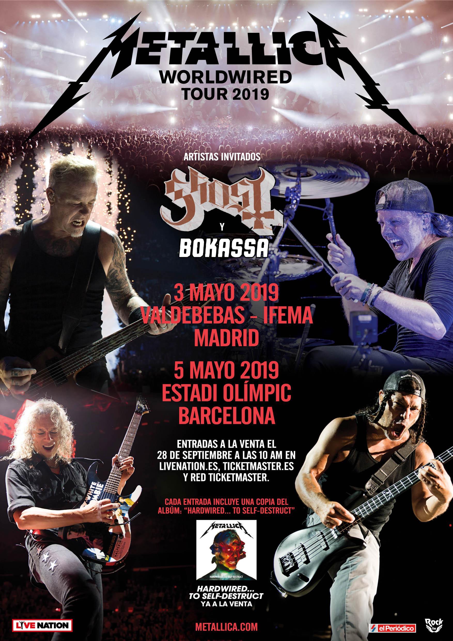 Concierto Metallica 3 Y  4 de Mayo En Madrid Y  Barcelona