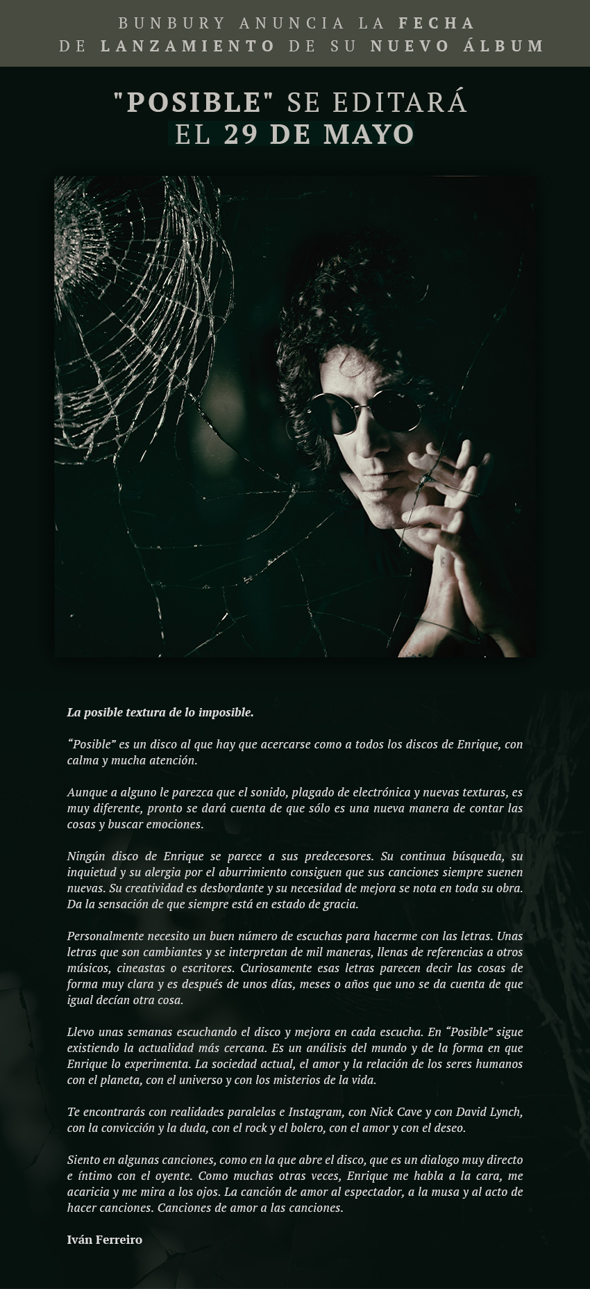 NOVEDADES WARNER MUSIC SPAIN (BUNBURY, LOS SECRETOS, DESPISTAOS...)